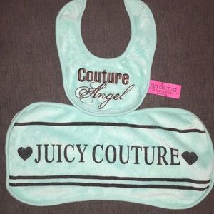 Juicy couture bib and burp cloth